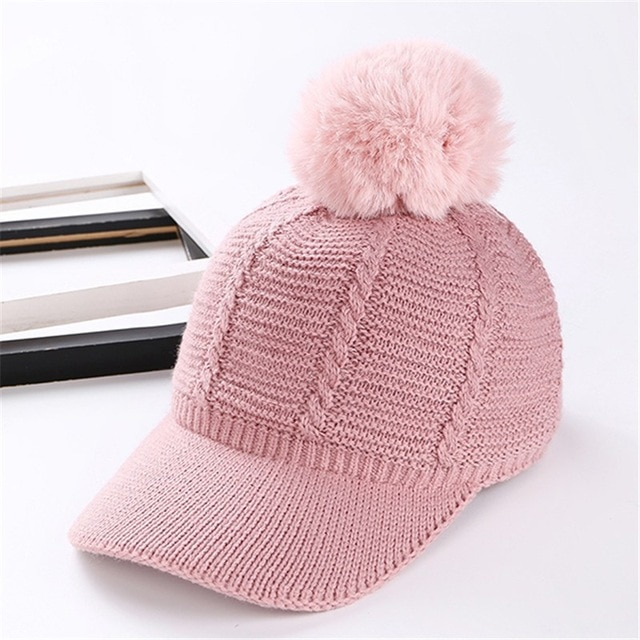 6b255b1caad7d Women s Pink Fur Ball Knitted Baseball Cap - Just Pink About It