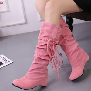 Women's Pink Knee High Wedge Boots
