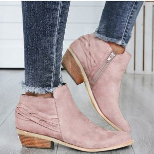 Women's Pink Fashion Ankle Boots