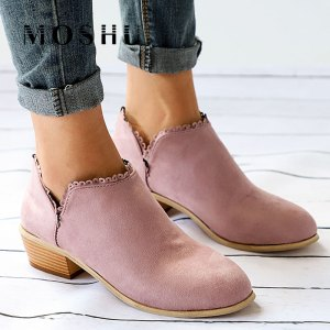 Women's Pink Lace Trim Ankle Boots