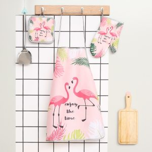 Pink Flamingo Print 3 Piece Kitchen Set