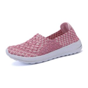 Women's Pink Mesh Casual Flat Loafers