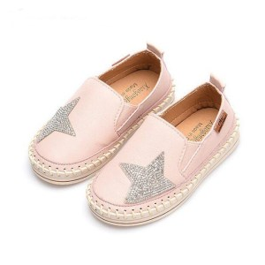 Girl's Pink Rhinestone Star Casual Loafers