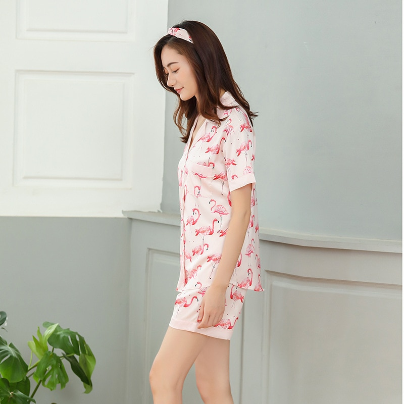 8c54d3970a4 Women s Flamingo Print Satin Pajama Set - Just Pink About It