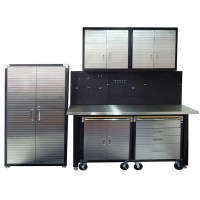 7 Piece Standard Garage Storage System with Stainless