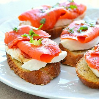 Smoked Salmon and Mozzarella Crostini