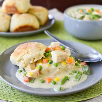 Creamy Garlic Chicken and Buttermilk Biscuits
