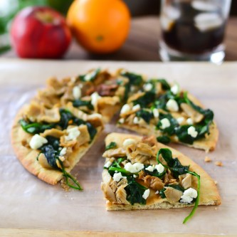 Spinach & Mushroom Pita Pizza
