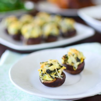 Spinach and Artichoke Dip Stuffed Mushrooms
