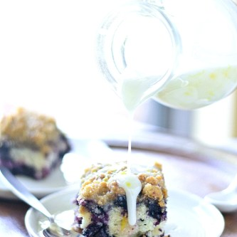 Blueberry Breakfast Cake with Lemon Yogurt Glaze