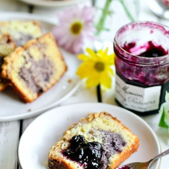Lemony Blueberry Swirl Loaf Cake