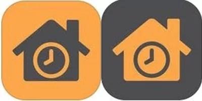 Símbolo do aplicativo Hora do Lar, tanto para o empregador quanto para o empregado. Cores: laranja e cinza.