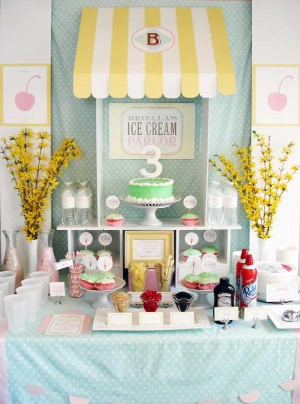 Ideias criativas para painel de festa de aniversário - Loja de sorvete