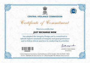 CENTRAL VIGILANCE COMMISSION CERTIFICATE OF COMMITMENT- Just Recharge Now