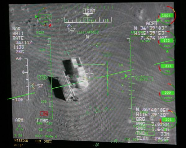CREECH AIR FORCE BASE, NV - AUGUST 08: A pilot's heads up display in a ground control station shows a truck from the view of a camera on an MQ-9 Reaper during a training mission August 8, 2007 at Creech Air Force Base in Indian Springs, Nevada. The Reaper is the Air Force's first