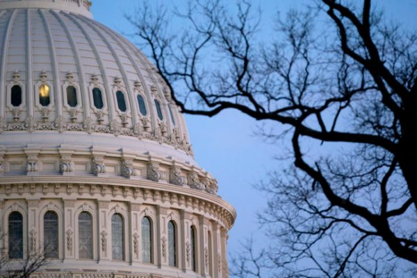 The U.S. Capitol dome at dusk on April 13, 2021 in Washington, DC.