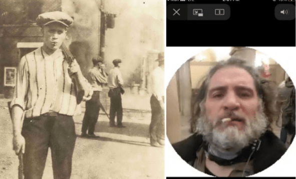 Side by side images of a white supremacist with a gun and cigar during the Tulsa Race Massacre and a modern-day white supremacist, Proud Boys member Dominic Pezzola, smoking a cigar inside the Capitol building on January 6, 2021.