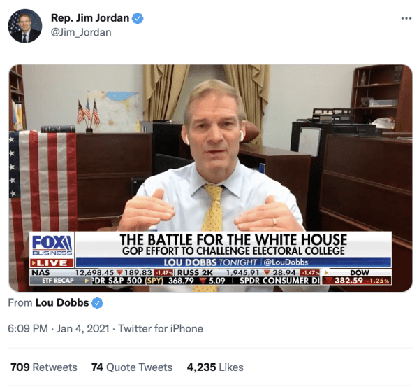 """A tweet by Rep. Jim Jordan (@Jim_Jordan) on January 4, 2021 at 6:09pm shows a video of him speaking on Fox News. The caption on Fox News reads, """"The Battle for the White House GOP Effort to Challenge the Electoral College"""""""
