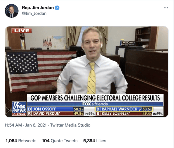 """A tweet by Rep. Jim Jordan (@Jim_Jordan) on January 6, 2021 at 11:54am of him speaking on Fox News from an office with an American flag. The caption on Fox News reads, """"GOP Members Challenging Electoral College Results"""""""