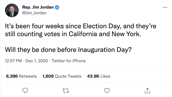 """A tweet by Rep. Jim Jordan (@Jim_Jordan) on December 1, 2020 at 12:57pm reads, """"It's been four weeks since Election Day, and they're still counting votes in California and New York. Will they be done before Inauguration Day?"""""""