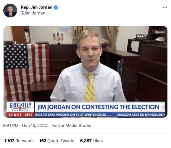 """A tweet by Rep. Jim Jordan (@Jim_Jordan) on December 16, 2020 at 9:41pm of a video of him speaking on Greg Kelly Reports. The caption on the video reads, """"Jim Jordan on contesting the elction."""""""