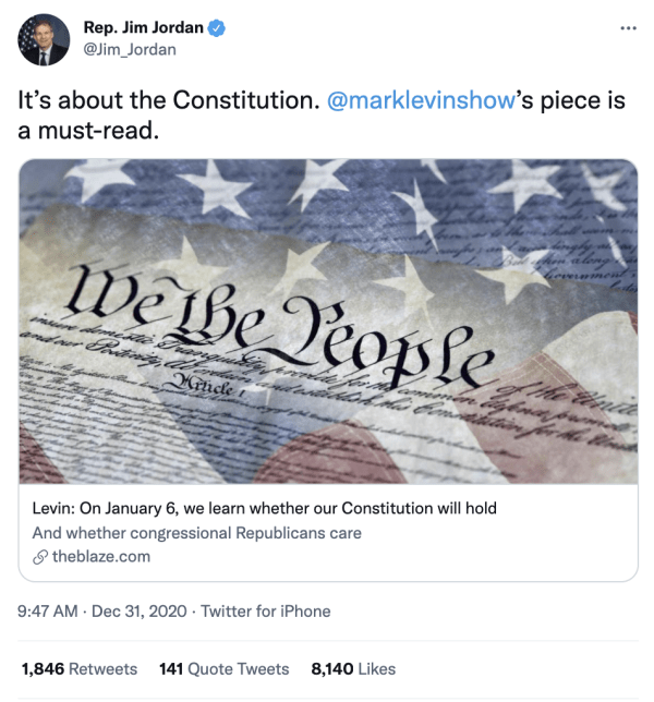 """A tweet by Rep. Jim Jordan (@Jim_Jordan) on December 31, 2020 at 9:47am reads, """"It's about the Constitution. @marklevinshow's piece is a must-read."""" The article is posted and shows an image of the Constitution with a transparent American flag overlaid. The caption for the article reads, """"Levin: On January 6, we learn whether our Constitution will hold. And whether congressional Republicans care. theblaze.com"""""""