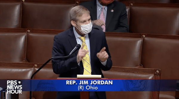 Jim Jordan speaks to Congress. This is a screenshot from PBS News Hour, and a caption states Jim Jordan's name and (R-OH).