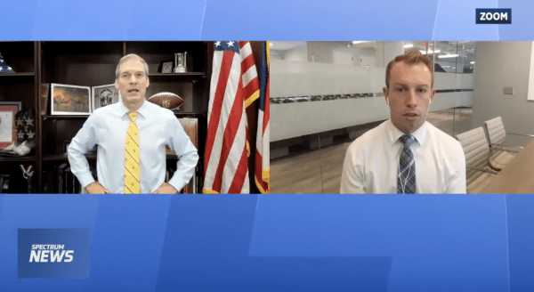 Jim Jordan speaks with another person via Zoom and shown on Spectrum News.