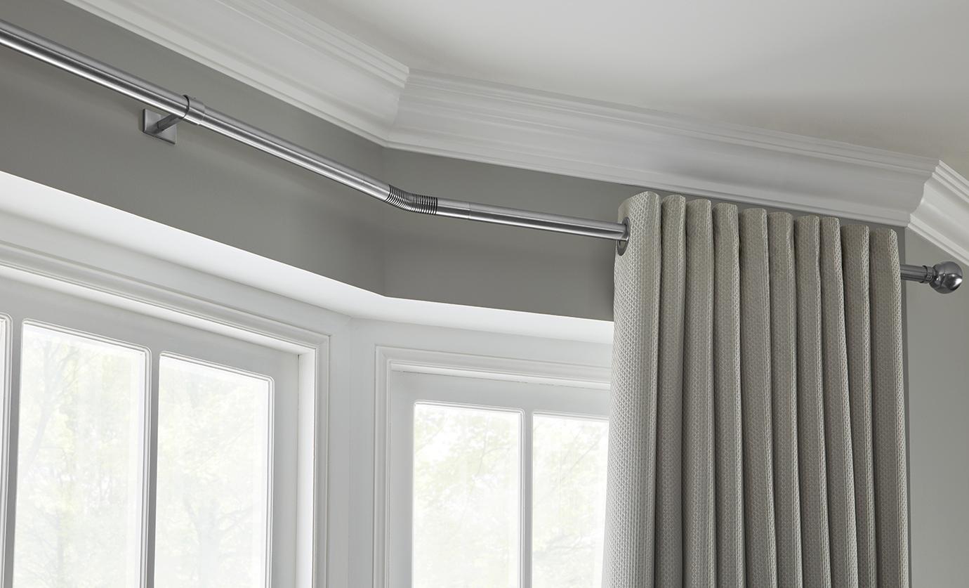 Rolls Neo 28mm Eyelet Bay Window Curtain Pole Chrome Stud Just Sew Interiors