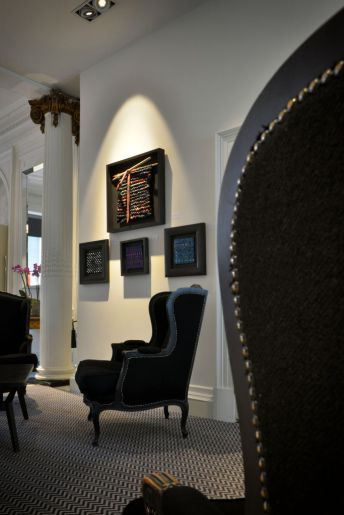Frames hanging in Blythswood hotel.