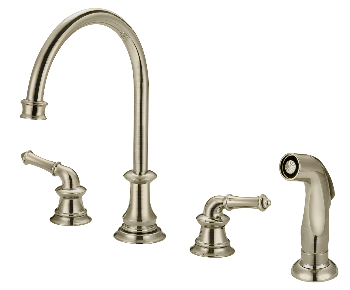 gooseneck kitchen faucet with pull out spray southwest decor faucets stainless steel sinks and