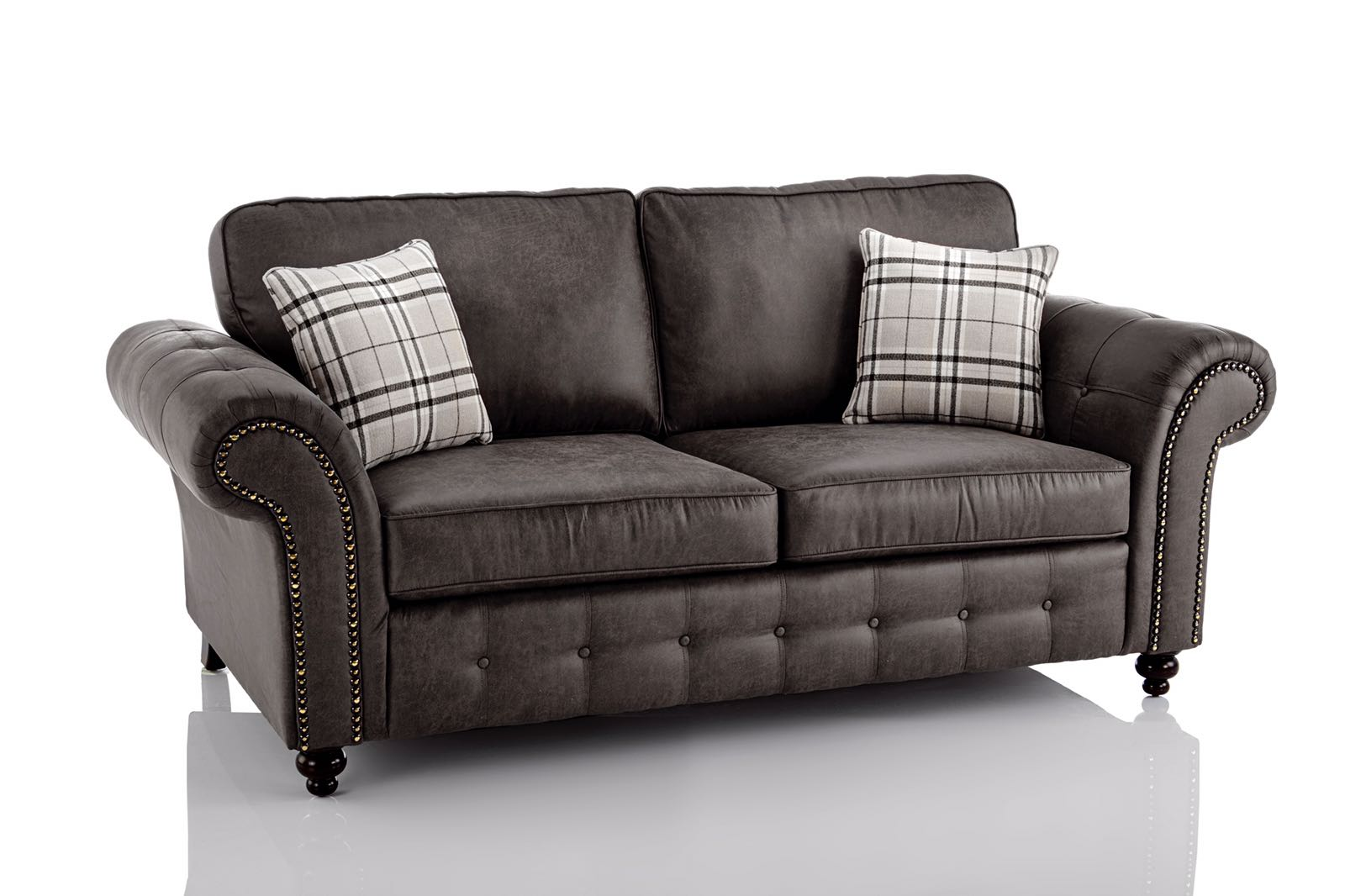 Oakland Faux Leather 3 and 2 Seater Sofa Combo in Black  Just Sit On It