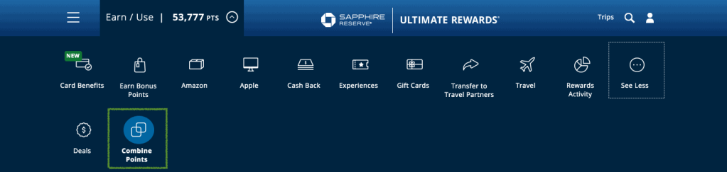 Chase Ultimate Rewards Portal - Combine Points