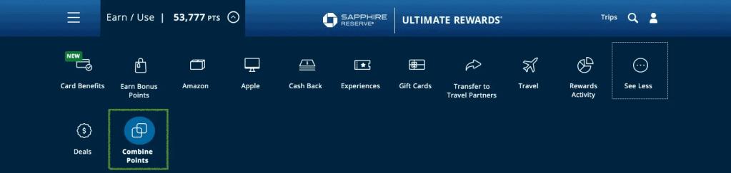 Chase Ultimate Rewards Portal - Combine Points