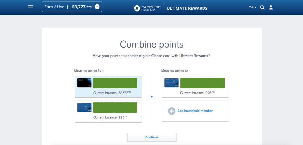 Redeem Chase Ultimate Rewards - Combine Points