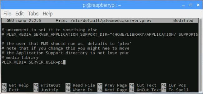 terminal window: changing Plex to Pi as the user