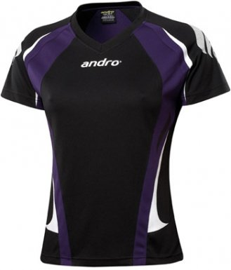 andro Polo PONCA Women V-Neck Black/Purple