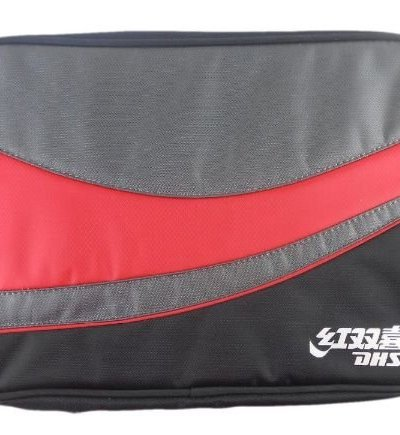DHS Pro Table Tennis Double Bat Cover, Blk/Red/Grey