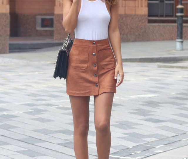 Wear Your Button Front Suede Skirt With Matching Shoes And A White Top Via Nada