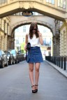 Denim Mini Skirt Outfit with Heels