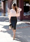 Outfits with Leather Pencil Skirt
