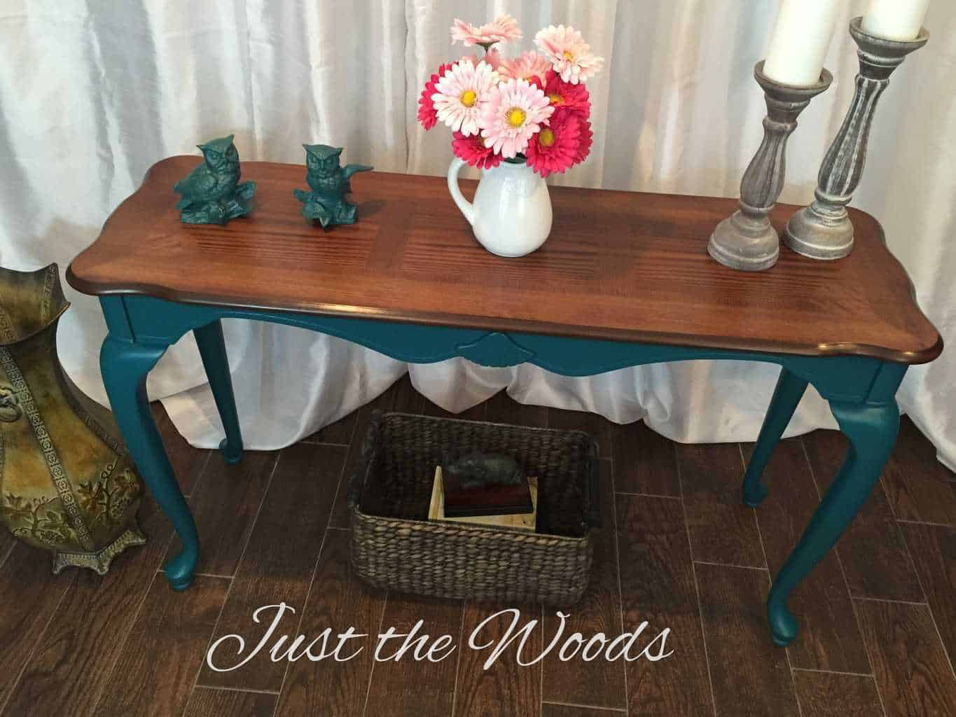 painted queen anne sofa table serta convertible leather bold teal with legs