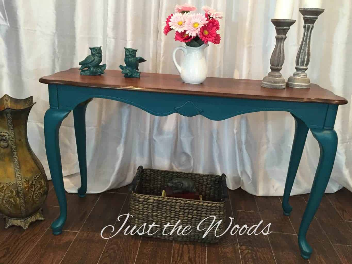 painted queen anne sofa table kuka leather reclining reviews bold teal with legs
