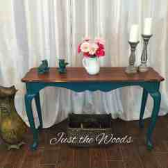 Painted Queen Anne Sofa Table Ashton Bobs Reviews Bold Teal With Legs