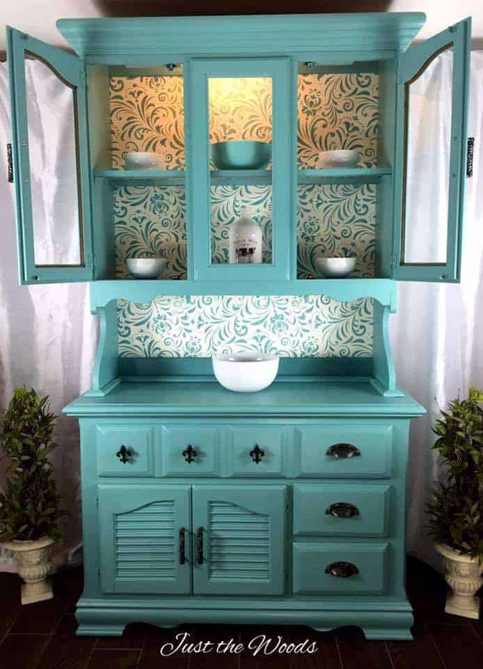 Sea Foam Painted China Cabinet with Stencil Backing
