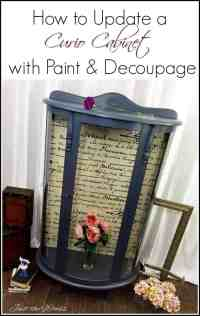 Curio Cabinet Makeover with French Script Decoupage by ...
