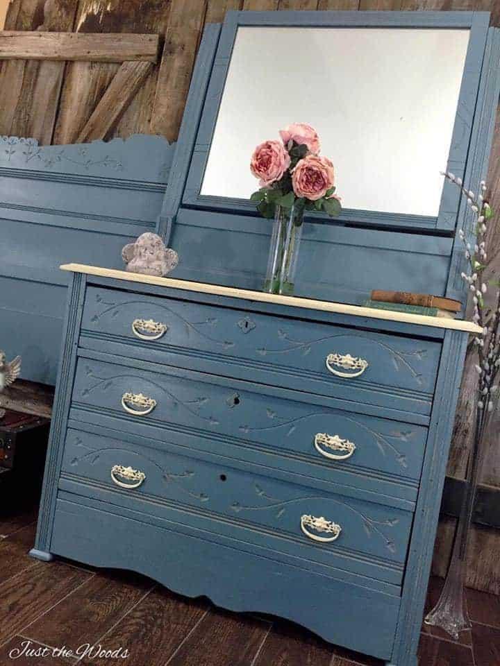 Cottage Style Painted Dresser Set Makeover of Antique Eastlake Furniture