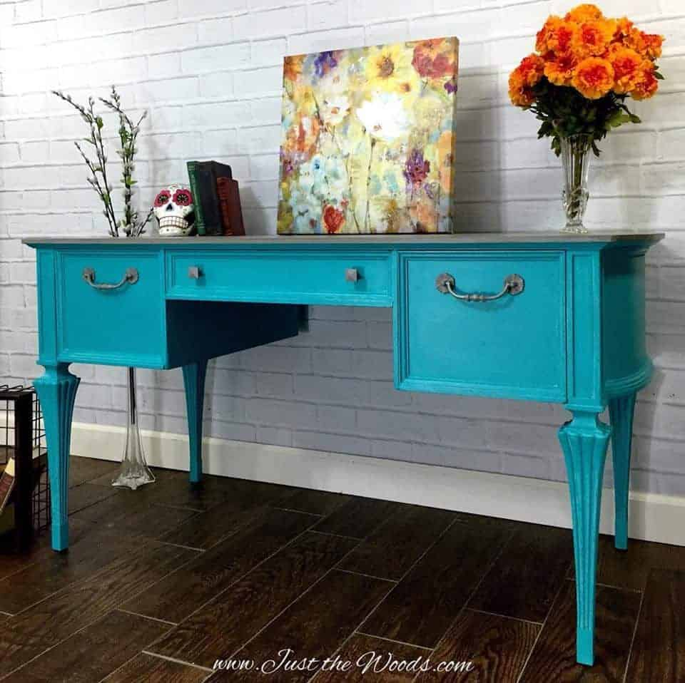 Painted Turquoise Desk with Gray Washed Top by Just the Woods