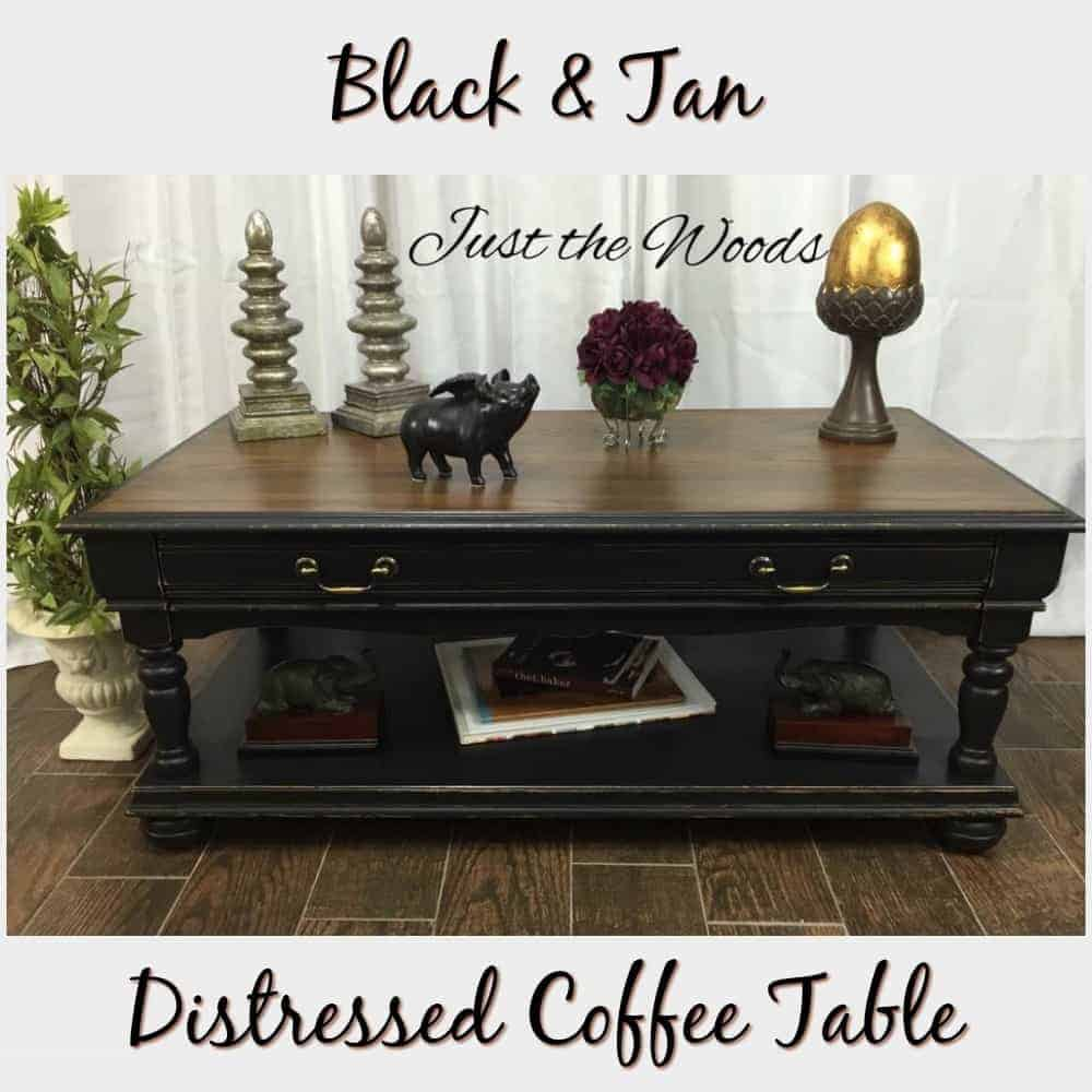 distressed coffee table in black and