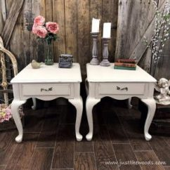 Painted Queen Anne Sofa Table White Leather End Tables With Lined Drawers By Just The Woods Dixie Belle Furniture